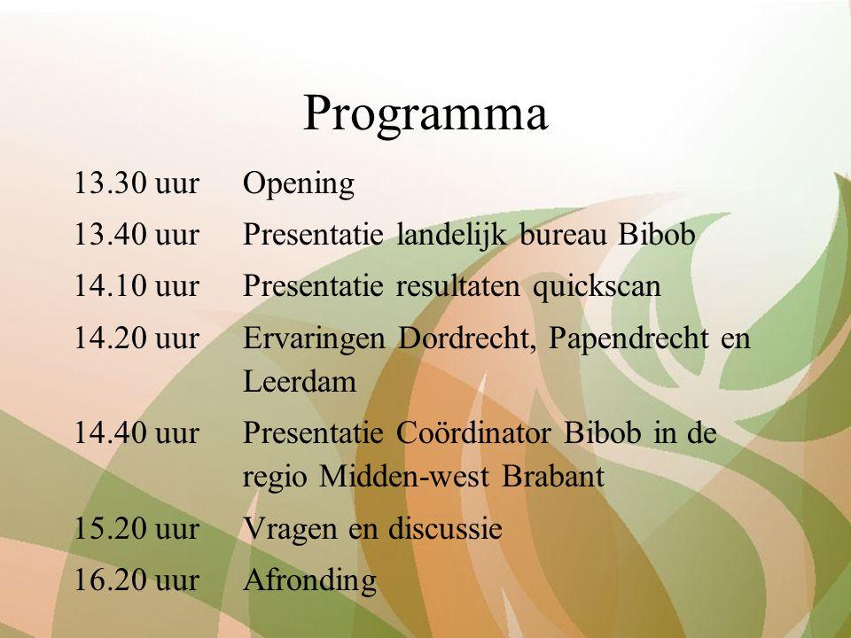 Programma 13.30 uur Opening 13.40 uurPresentatie landelijk bureau Bibob 14.10 uurPresentatie resultaten quickscan 14.20 uurErvaringen Dordrecht, Papendrecht en Leerdam 14.40 uurPresentatie Coördinator Bibob in de regio Midden-west Brabant 15.20 uurVragen en discussie 16.20 uurAfronding