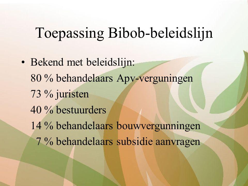 Toepassing Bibob-beleidslijn Bekend met beleidslijn: 80 % behandelaars Apv-verguningen 73 % juristen 40 % bestuurders 14 % behandelaars bouwvergunningen 7 % behandelaars subsidie aanvragen