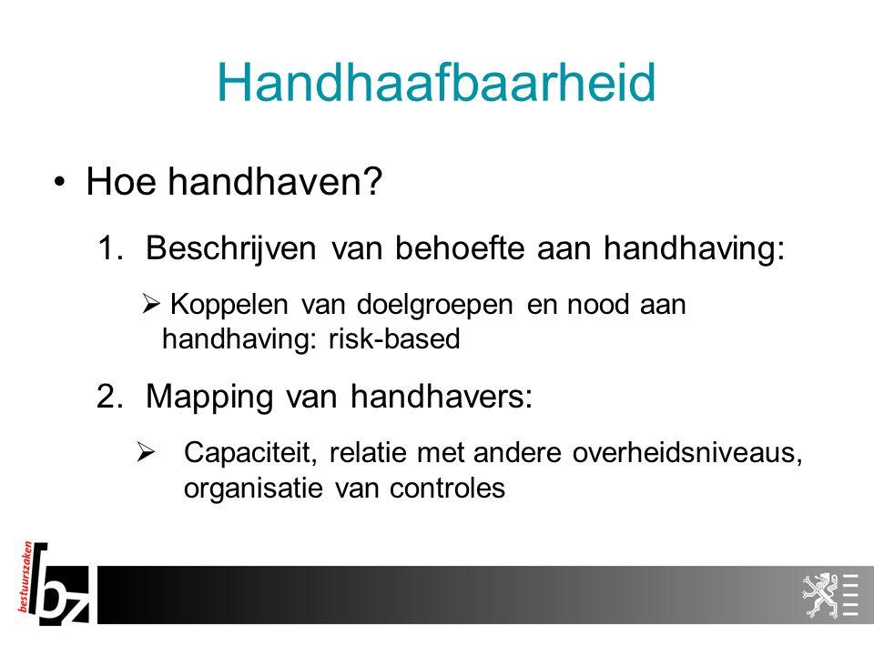 Handhaafbaarheid Hoe handhaven? 1.Beschrijven van behoefte aan handhaving:  Koppelen van doelgroepen en nood aan handhaving: risk-based 2.Mapping van