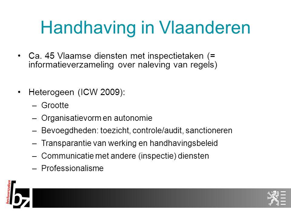 Handhaving in Vlaanderen Ca. 45 Vlaamse diensten met inspectietaken (= informatieverzameling over naleving van regels) Heterogeen (ICW 2009): –Grootte