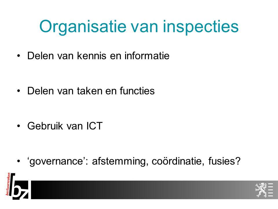 Organisatie van inspecties Delen van kennis en informatie Delen van taken en functies Gebruik van ICT 'governance': afstemming, coördinatie, fusies?