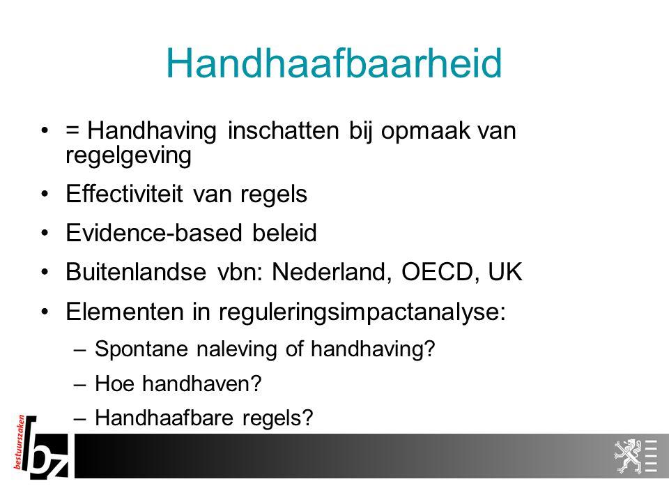 Handhaafbaarheid = Handhaving inschatten bij opmaak van regelgeving Effectiviteit van regels Evidence-based beleid Buitenlandse vbn: Nederland, OECD,