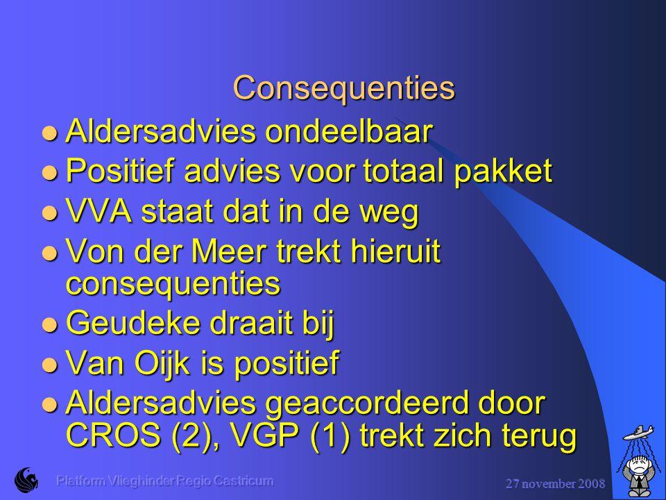 27 november 2008 Platform Vlieghinder Regio Castricum Consequenties Aldersadvies ondeelbaar Aldersadvies ondeelbaar Positief advies voor totaal pakket Positief advies voor totaal pakket VVA staat dat in de weg VVA staat dat in de weg Von der Meer trekt hieruit consequenties Von der Meer trekt hieruit consequenties Geudeke draait bij Geudeke draait bij Van Oijk is positief Van Oijk is positief Aldersadvies geaccordeerd door CROS (2), VGP (1) trekt zich terug Aldersadvies geaccordeerd door CROS (2), VGP (1) trekt zich terug
