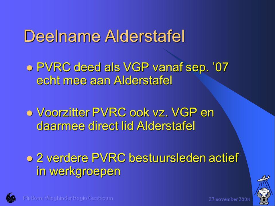 27 november 2008 Platform Vlieghinder Regio Castricum Deelname Alderstafel PVRC deed als VGP vanaf sep.