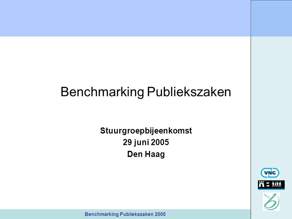 Benchmarking Publiekszaken 2005 Benchmarking Publiekszaken Stuurgroepbijeenkomst 29 juni 2005 Den Haag
