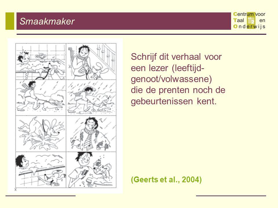 Gericht op één specifiek genre: schriftelijke navertellingen op basis van een pictografische reeks (Eaton, Collis, & Lewis, 1999) - Vanuit het standpunt van de leerlingen: - vertrouwd genre ( Heesters, 2000) - opdracht sluit aan bij hoe jonge leerlingen omgaan met het medium: knowledge-telling (Bereiter & Scardamelia '87) - Vanuit onderzoeksstandpunt: - geen probleem van (uiteenlopende) voorkennis; - de aandacht van de leerlingen gaat naar het niveau van 'formuleren'; - naturalistische data (LKn hebben ervaring); - vergelijkbaarheid over klasgrenzen heen.