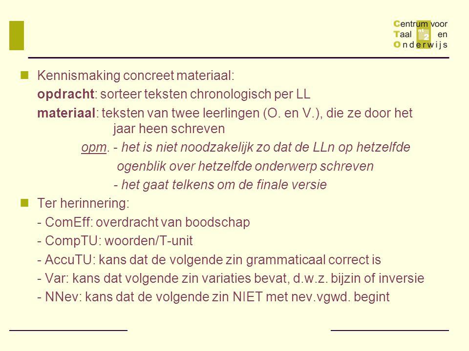 Kennismaking concreet materiaal: opdracht: sorteer teksten chronologisch per LL materiaal: teksten van twee leerlingen (O.