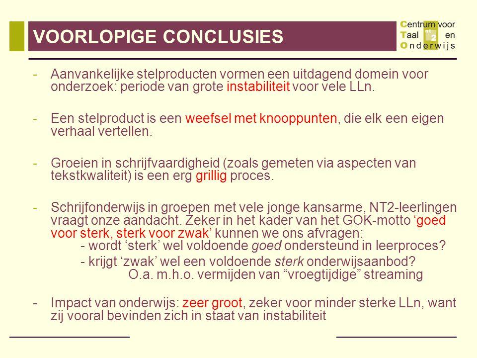 VOORLOPIGE CONCLUSIES -Aanvankelijke stelproducten vormen een uitdagend domein voor onderzoek: periode van grote instabiliteit voor vele LLn.