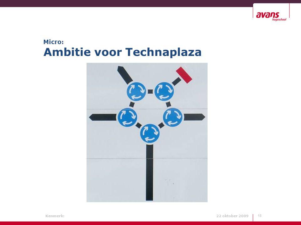 Kenmerk: 22 oktober 2009 Micro: Ambitie voor Technaplaza 18