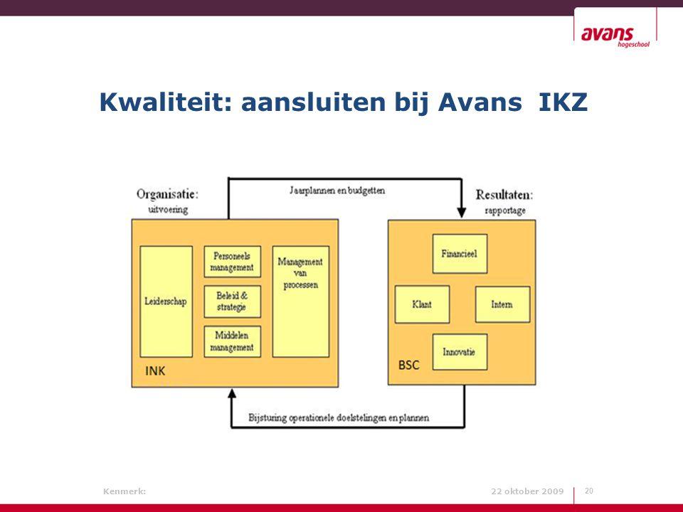 Kenmerk: 22 oktober 2009 Kwaliteit: aansluiten bij Avans IKZ 20