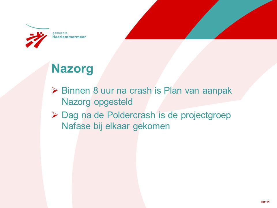 Blz 11  Binnen 8 uur na crash is Plan van aanpak Nazorg opgesteld  Dag na de Poldercrash is de projectgroep Nafase bij elkaar gekomen Nazorg