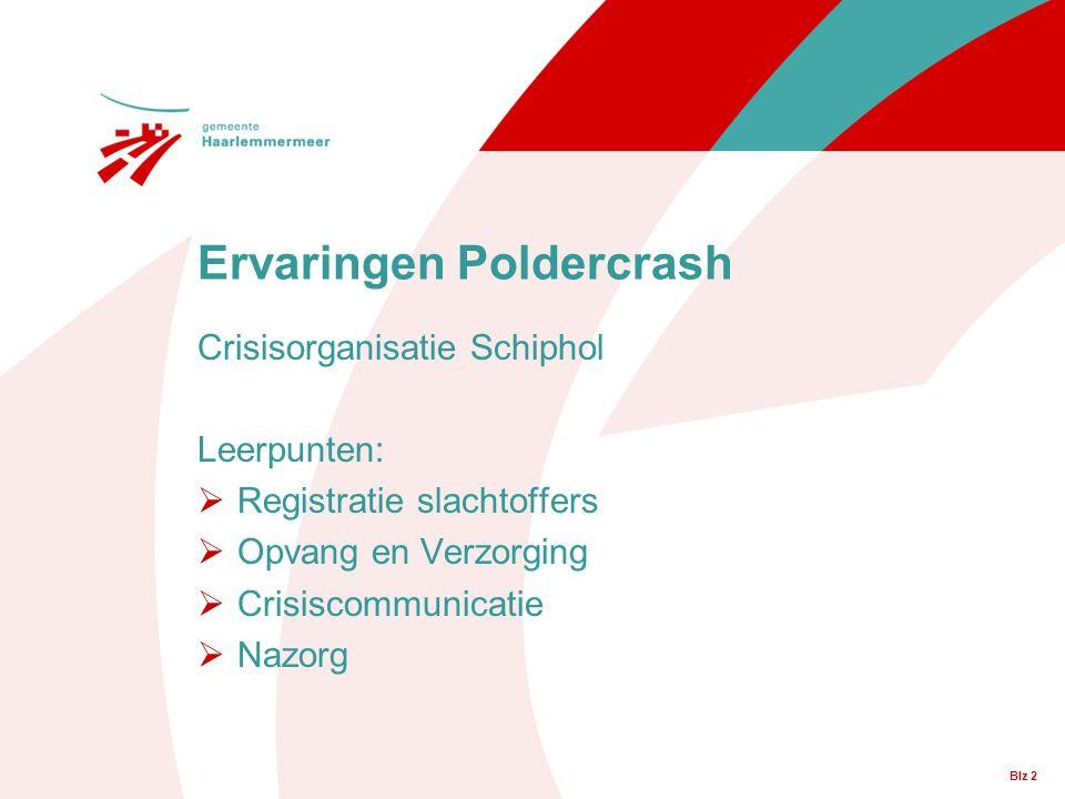 Blz 2 Crisisorganisatie Schiphol Leerpunten:  Registratie slachtoffers  Opvang en Verzorging  Crisiscommunicatie  Nazorg Ervaringen Poldercrash