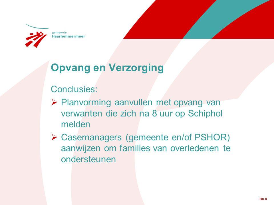 Blz 8 Conclusies:  Planvorming aanvullen met opvang van verwanten die zich na 8 uur op Schiphol melden  Casemanagers (gemeente en/of PSHOR) aanwijze
