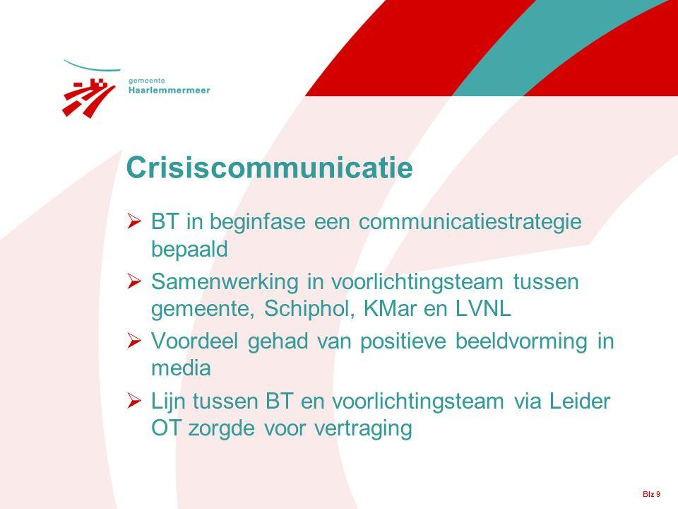 Blz 9  BT in beginfase een communicatiestrategie bepaald  Samenwerking in voorlichtingsteam tussen gemeente, Schiphol, KMar en LVNL  Voordeel gehad