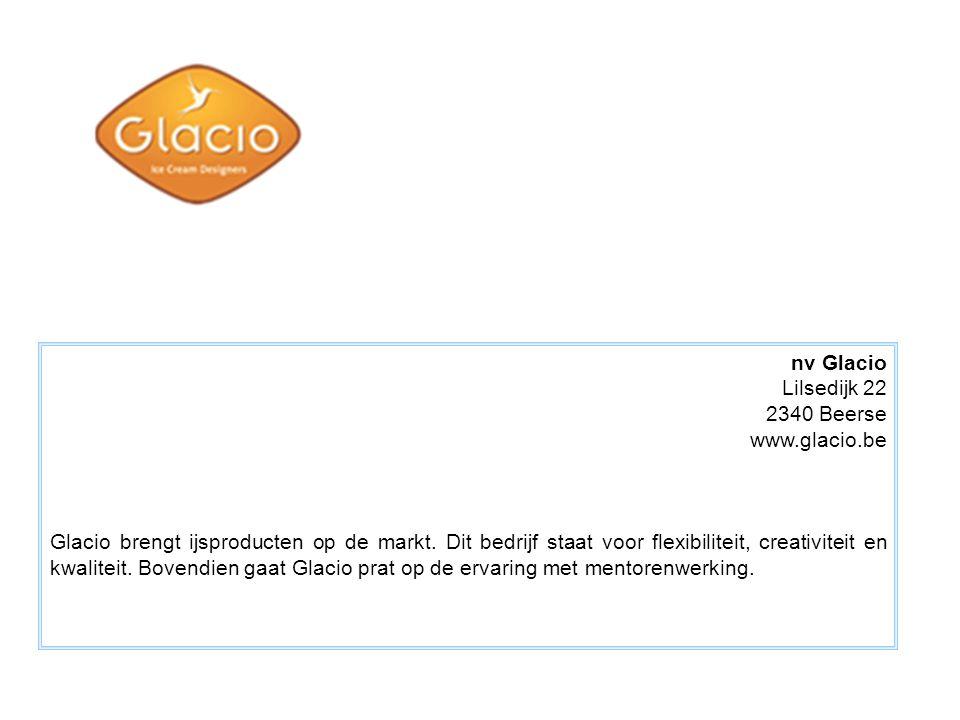 nv Glacio Lilsedijk 22 2340 Beerse www.glacio.be Glacio brengt ijsproducten op de markt. Dit bedrijf staat voor flexibiliteit, creativiteit en kwalite