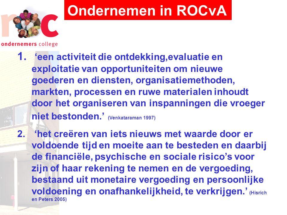 Ondernemen in ROCvA Werkdefinitie: 'activiteit vanuit emotionele zelfstandigheid die leidt tot economische zelfredzaamheid'.