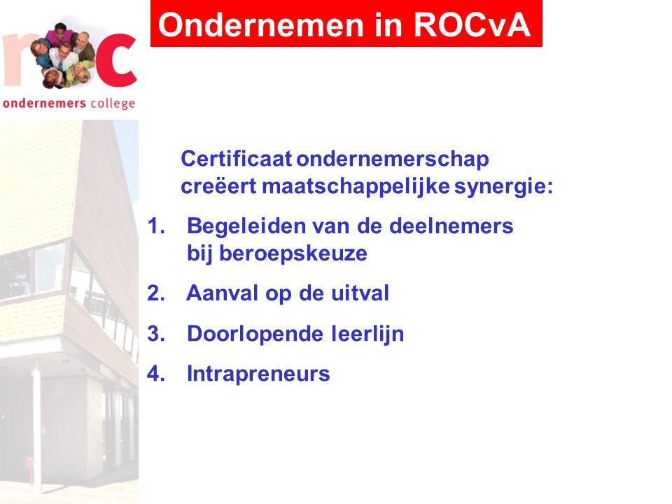 Ondernemen in ROCvA Certificaat ondernemerschap creëert maatschappelijke synergie: 1.