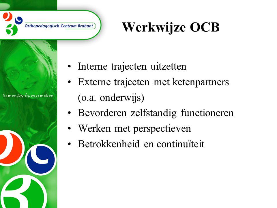 Werkwijze OCB Interne trajecten uitzetten Externe trajecten met ketenpartners (o.a. onderwijs) Bevorderen zelfstandig functioneren Werken met perspect