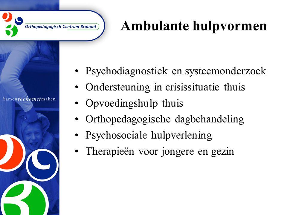 Ambulante hulpvormen Psychodiagnostiek en systeemonderzoek Ondersteuning in crisissituatie thuis Opvoedingshulp thuis Orthopedagogische dagbehandeling