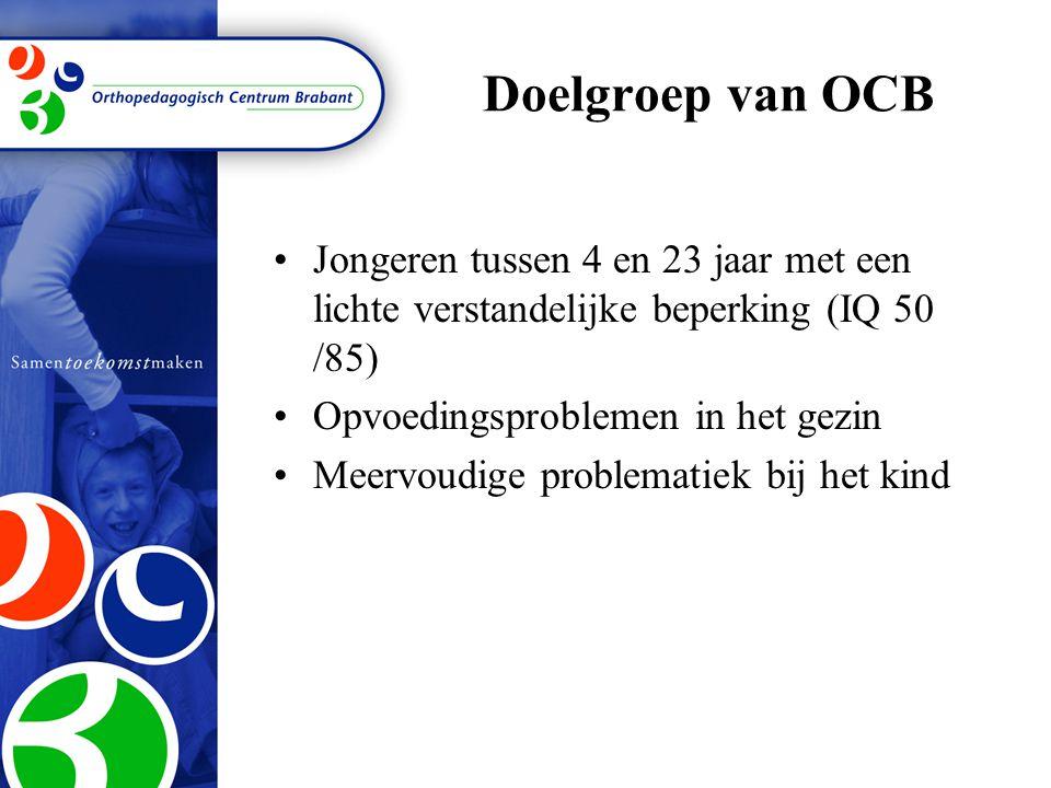 Doelgroep van OCB Jongeren tussen 4 en 23 jaar met een lichte verstandelijke beperking (IQ 50 /85) Opvoedingsproblemen in het gezin Meervoudige problematiek bij het kind