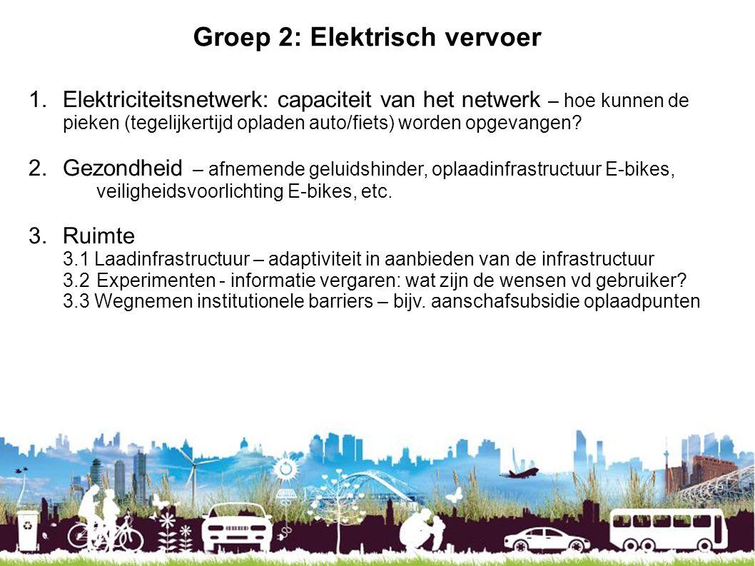 Groep 2: Elektrisch vervoer 1.Elektriciteitsnetwerk: capaciteit van het netwerk – hoe kunnen de pieken (tegelijkertijd opladen auto/fiets) worden opge