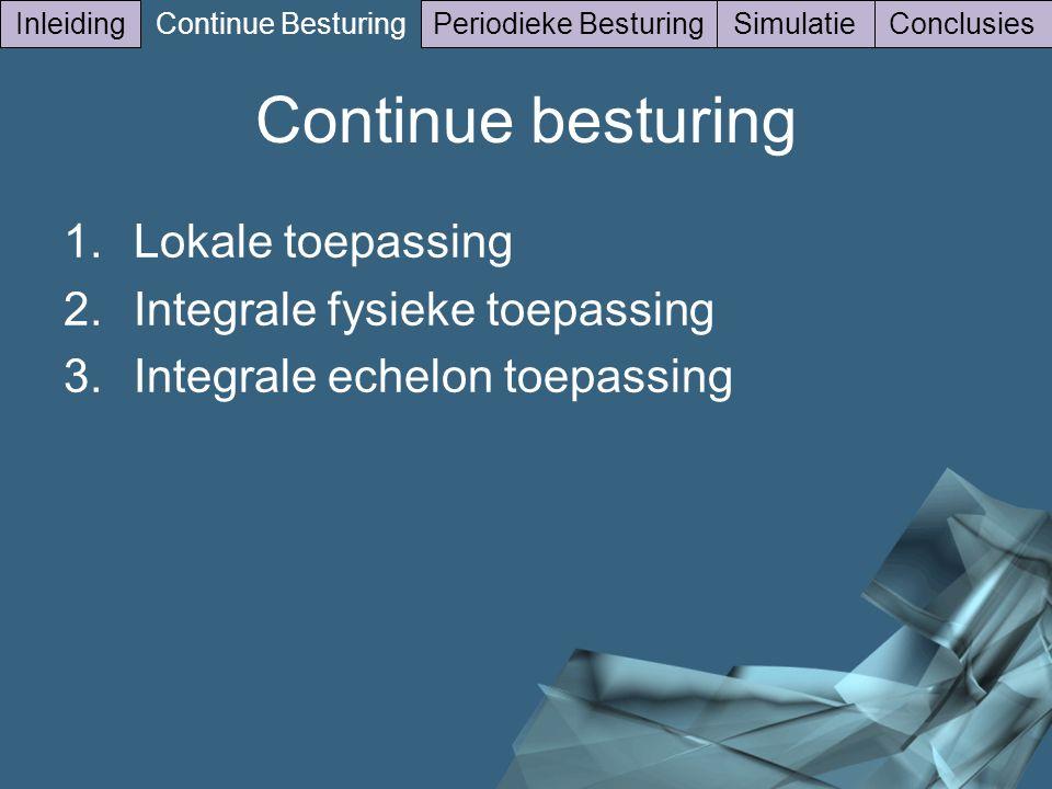 14/41 Inleiding Continue Besturing Periodieke BesturingSimulatieConclusies 1.Lokale toepassing 2.Integrale fysieke toepassing 3.Integrale echelon toepassing Continue besturing