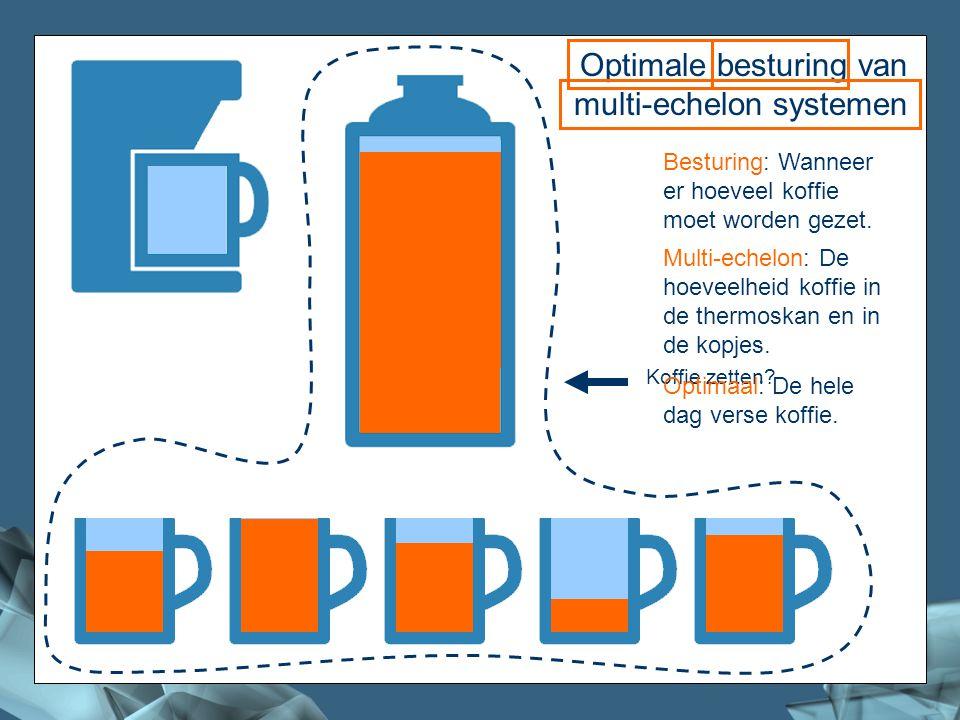 2/41 Koffie Optimale besturing van multi-echelon systemen Koffie zetten? Besturing: Wanneer er hoeveel koffie moet worden gezet. Multi-echelon: De hoe
