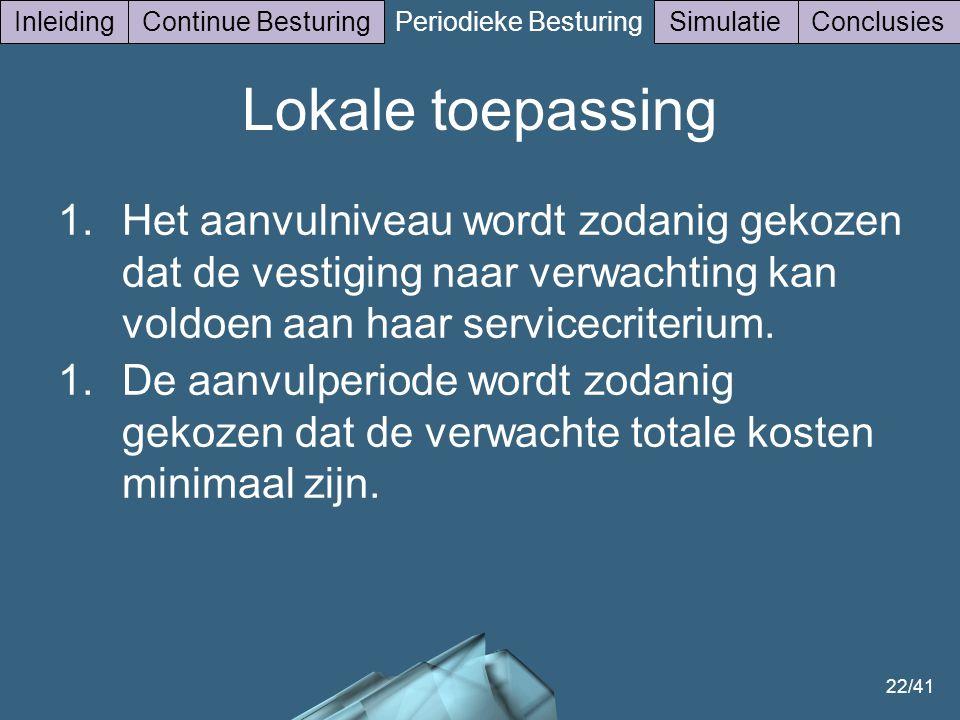22/41 InleidingContinue Besturing Periodieke Besturing SimulatieConclusies Lokale toepassing 1.Het aanvulniveau wordt zodanig gekozen dat de vestiging