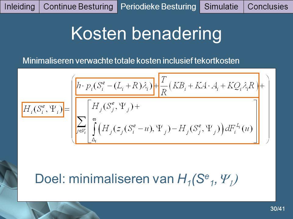30/41 InleidingContinue Besturing Periodieke Besturing SimulatieConclusies Minimaliseren verwachte totale kosten inclusief tekortkosten Doel: minimaliseren van H 1 (S e 1,    Kosten benadering