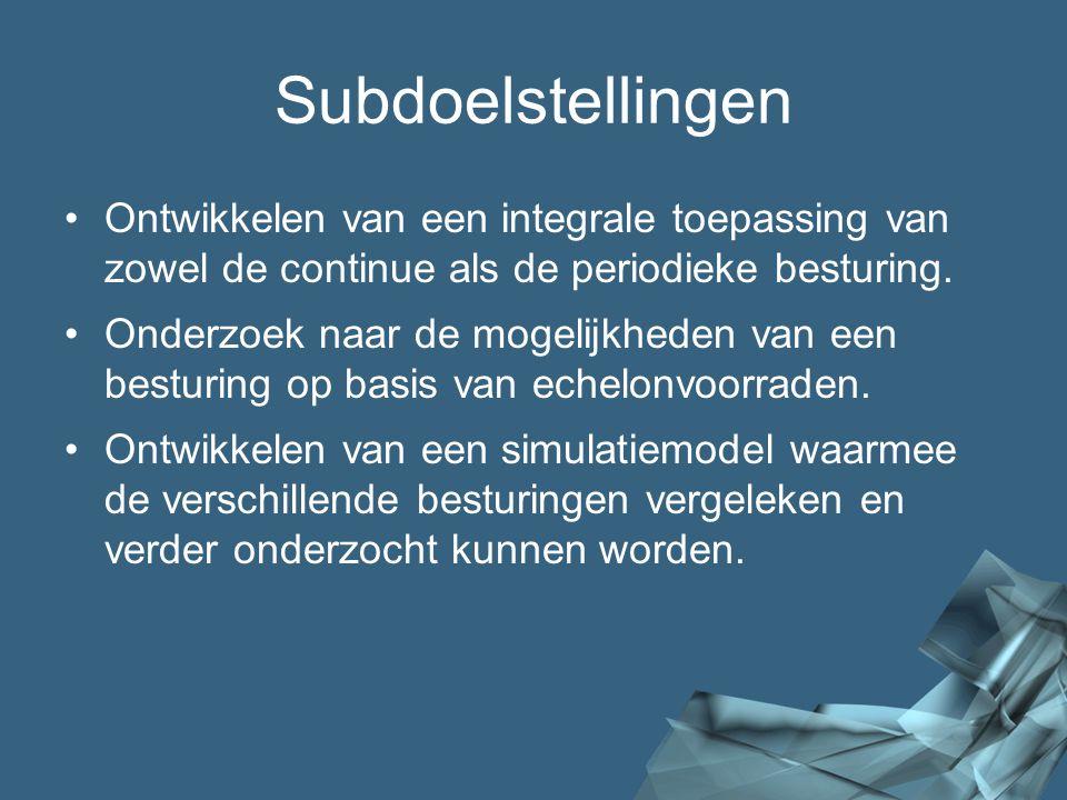 4/41 Subdoelstellingen Ontwikkelen van een integrale toepassing van zowel de continue als de periodieke besturing. Onderzoek naar de mogelijkheden van