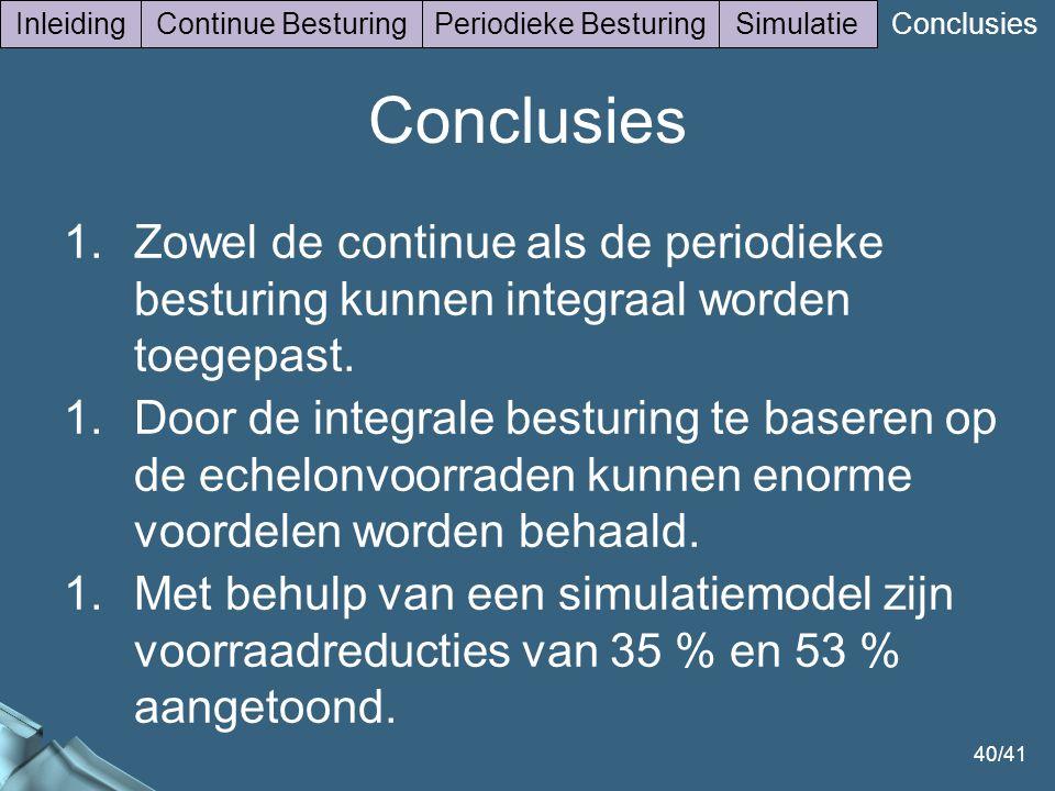 40/41 InleidingContinue BesturingPeriodieke BesturingSimulatie Conclusies 1.Zowel de continue als de periodieke besturing kunnen integraal worden toegepast.