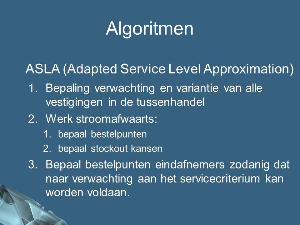 54/41 Algoritmen ASLA (Adapted Service Level Approximation) 1.Bepaling verwachting en variantie van alle vestigingen in de tussenhandel 2.Werk stroomafwaarts: 1.bepaal bestelpunten 2.bepaal stockout kansen 3.Bepaal bestelpunten eindafnemers zodanig dat naar verwachting aan het servicecriterium kan worden voldaan.