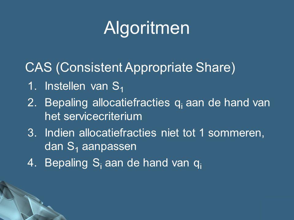 55/41 CAS (Consistent Appropriate Share) Algoritmen 1.Instellen van S 1 2.Bepaling allocatiefracties q i aan de hand van het servicecriterium 3.Indien allocatiefracties niet tot 1 sommeren, dan S 1 aanpassen 4.Bepaling S i aan de hand van q i