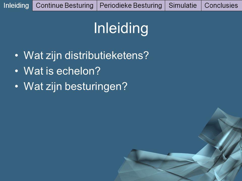 6/41 Inleiding Continue BesturingPeriodieke BesturingSimulatieConclusies Inleiding Wat zijn distributieketens? Wat is echelon? Wat zijn besturingen?