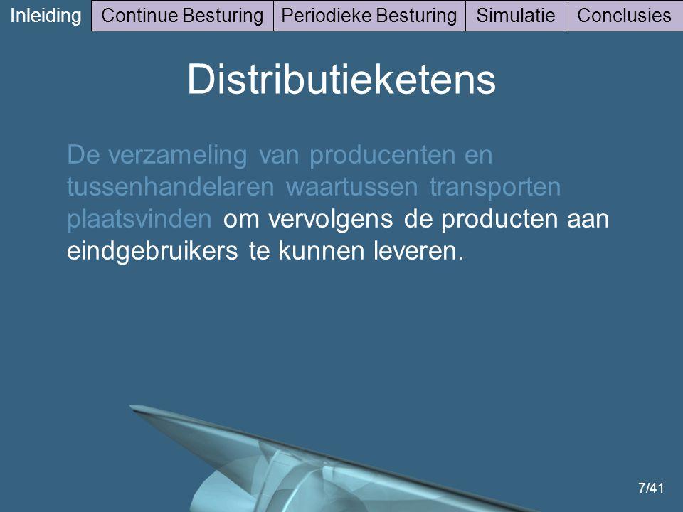 7/41 Inleiding Continue BesturingPeriodieke BesturingSimulatieConclusies Distributieketens De verzameling van producenten en tussenhandelaren waartussen transporten plaatsvinden om vervolgens de producten aan eindgebruikers te kunnen leveren.