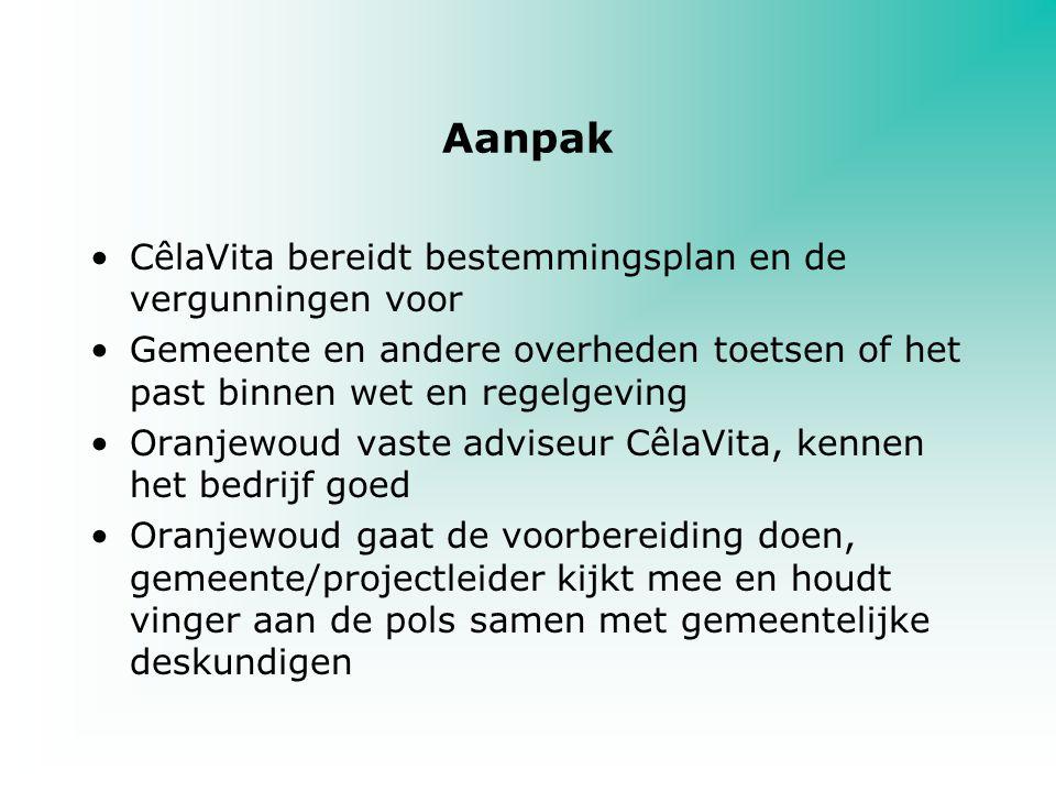 Aanpak CêlaVita bereidt bestemmingsplan en de vergunningen voor Gemeente en andere overheden toetsen of het past binnen wet en regelgeving Oranjewoud