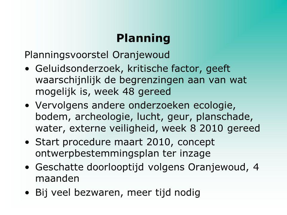 Planning Planningsvoorstel Oranjewoud Geluidsonderzoek, kritische factor, geeft waarschijnlijk de begrenzingen aan van wat mogelijk is, week 48 gereed