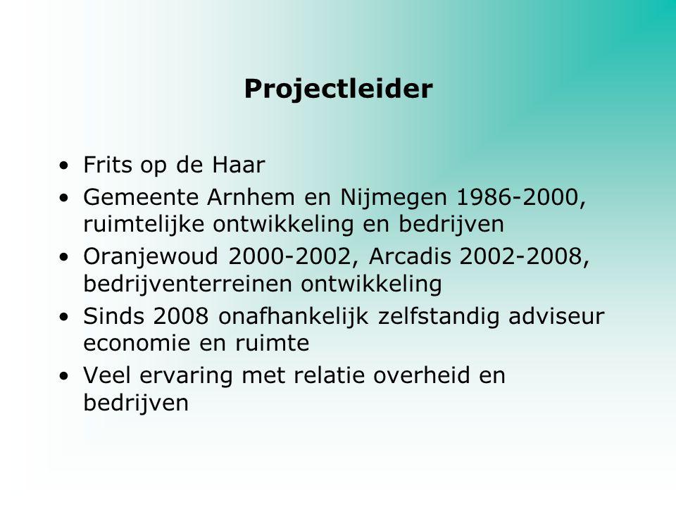 Projectleider Frits op de Haar Gemeente Arnhem en Nijmegen 1986-2000, ruimtelijke ontwikkeling en bedrijven Oranjewoud 2000-2002, Arcadis 2002-2008, b