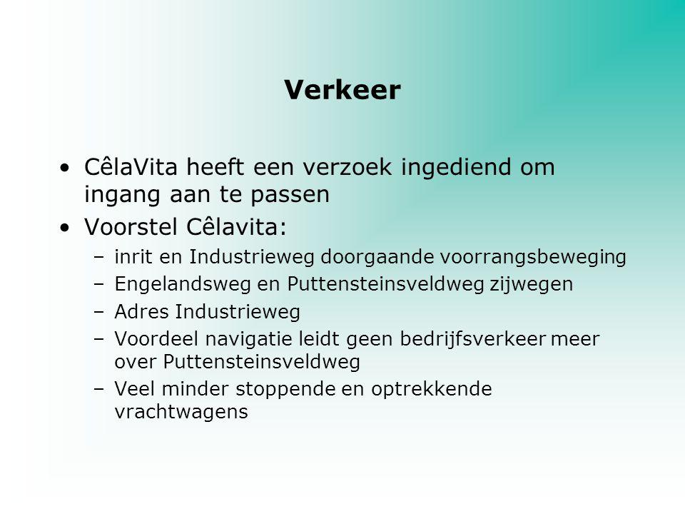 Verkeer CêlaVita heeft een verzoek ingediend om ingang aan te passen Voorstel Cêlavita: –inrit en Industrieweg doorgaande voorrangsbeweging –Engelands