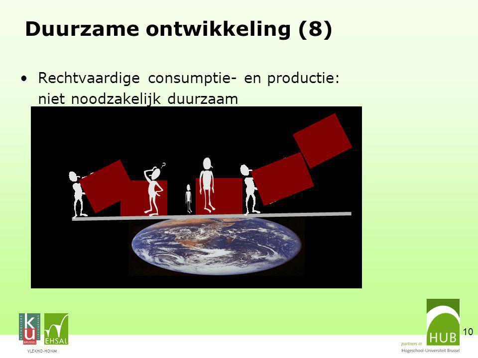 VLEKHO-HONIM 10 Duurzame ontwikkeling (8) Rechtvaardige consumptie- en productie: niet noodzakelijk duurzaam