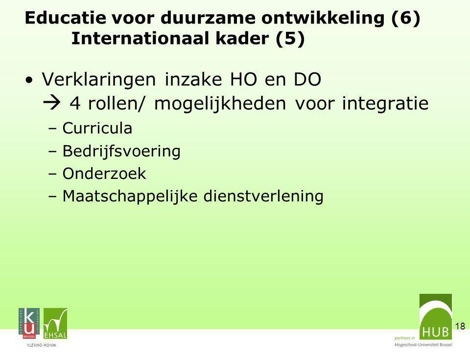 VLEKHO-HONIM 18 Educatie voor duurzame ontwikkeling (6) Internationaal kader (5) Verklaringen inzake HO en DO  4 rollen/ mogelijkheden voor integrati