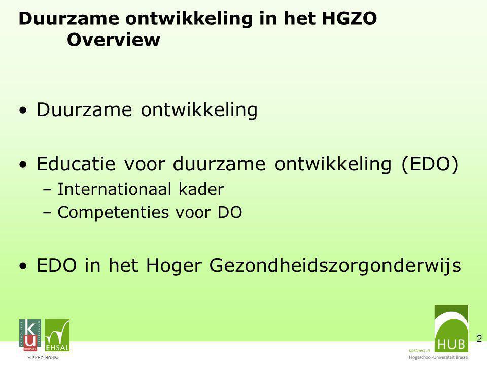 VLEKHO-HONIM 2 Duurzame ontwikkeling in het HGZO Overview Duurzame ontwikkeling Educatie voor duurzame ontwikkeling (EDO) –Internationaal kader –Competenties voor DO EDO in het Hoger Gezondheidszorgonderwijs