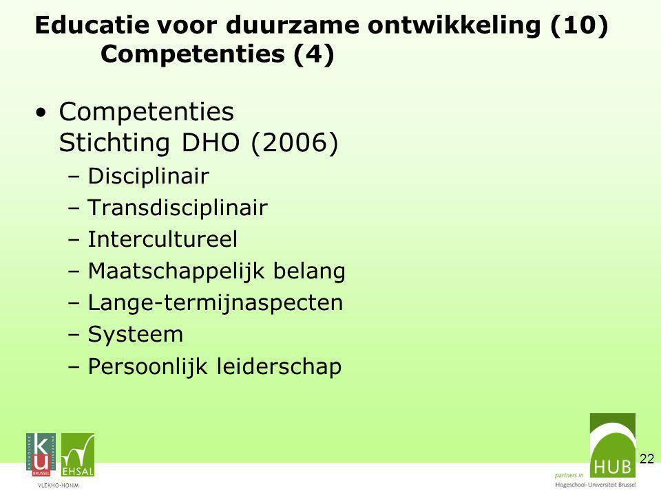 VLEKHO-HONIM 22 Educatie voor duurzame ontwikkeling (10) Competenties (4) Competenties Stichting DHO (2006) –Disciplinair –Transdisciplinair –Intercultureel –Maatschappelijk belang –Lange-termijnaspecten –Systeem –Persoonlijk leiderschap