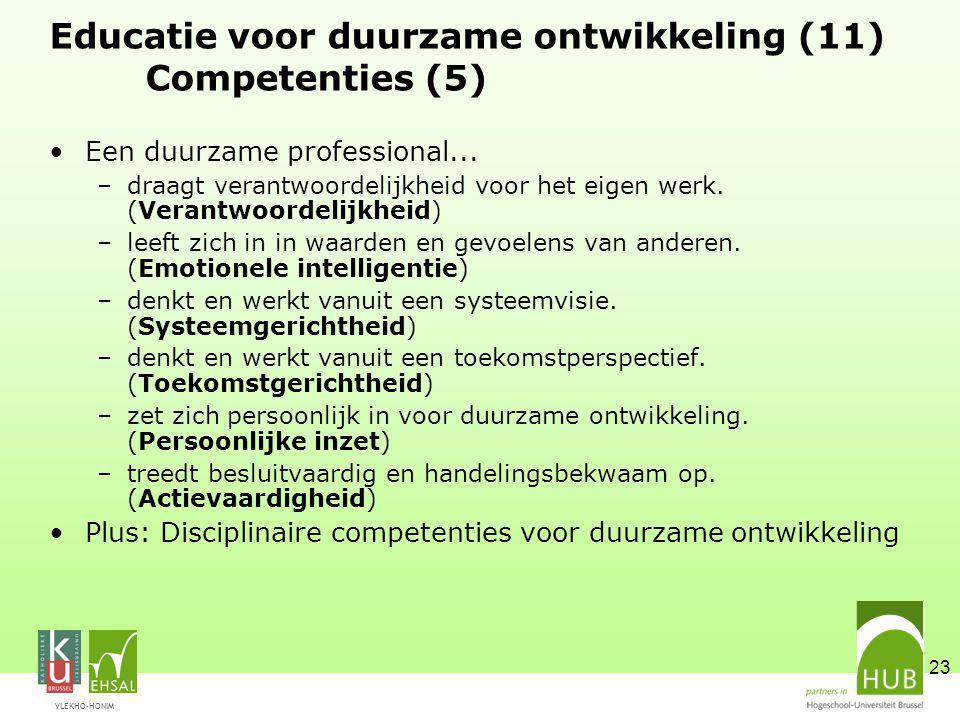 VLEKHO-HONIM 23 Educatie voor duurzame ontwikkeling (11) Competenties (5) Een duurzame professional... –draagt verantwoordelijkheid voor het eigen wer
