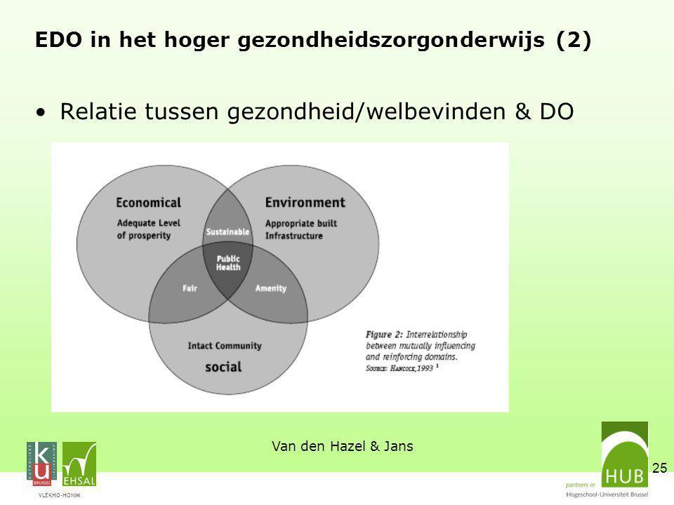 VLEKHO-HONIM 25 EDO in het hoger gezondheidszorgonderwijs (2) Relatie tussen gezondheid/welbevinden & DO Van den Hazel & Jans