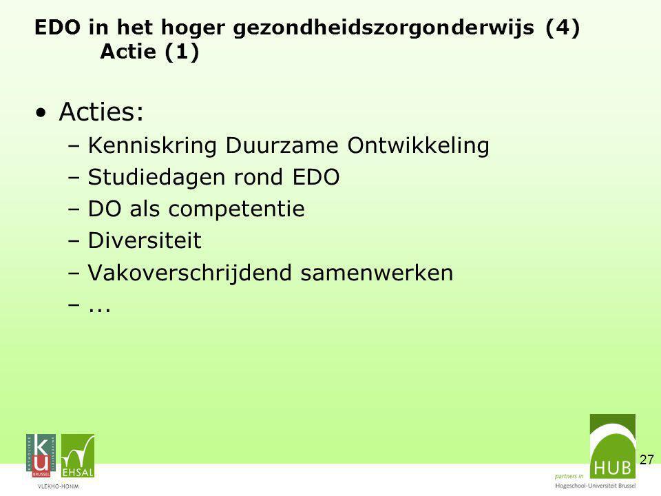 VLEKHO-HONIM 27 EDO in het hoger gezondheidszorgonderwijs (4) Actie (1) Acties: –Kenniskring Duurzame Ontwikkeling –Studiedagen rond EDO –DO als competentie –Diversiteit –Vakoverschrijdend samenwerken –...