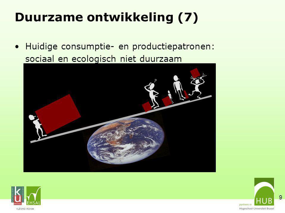 VLEKHO-HONIM 9 Duurzame ontwikkeling (7) Huidige consumptie- en productiepatronen: sociaal en ecologisch niet duurzaam