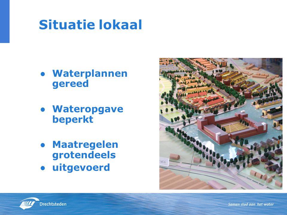 Situatie lokaal Waterplannen gereed Wateropgave beperkt Maatregelen grotendeels uitgevoerd