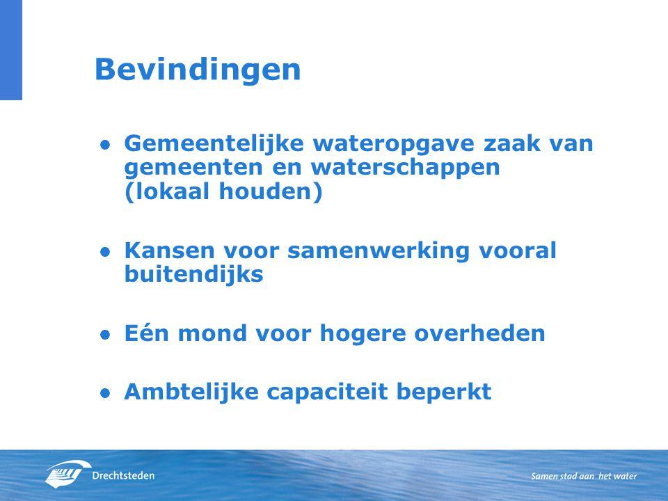 Bevindingen Gemeentelijke wateropgave zaak van gemeenten en waterschappen (lokaal houden) Kansen voor samenwerking vooral buitendijks Eén mond voor hogere overheden Ambtelijke capaciteit beperkt