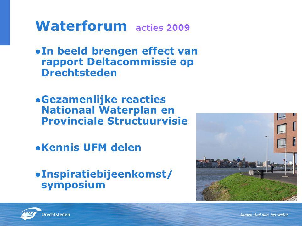 Waterforum acties 2009 In beeld brengen effect van rapport Deltacommissie op Drechtsteden Gezamenlijke reacties Nationaal Waterplan en Provinciale Structuurvisie Kennis UFM delen Inspiratiebijeenkomst/ symposium